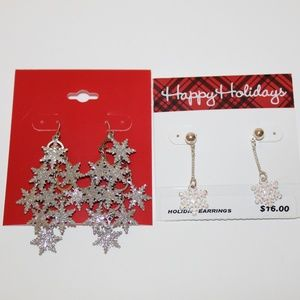 2 HOLIDAY CHRISTMAS GLITTER SNOWFLAKE EARRINGS NEW